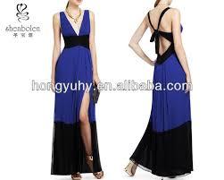 Color Combination For Blue Latest Elegant Dresses Side Pleated Long Hem Deep V Neckline