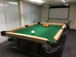 Pool Table Boardroom Table Employees Create U201cleaf Blower Billiards Table U201d For The Office