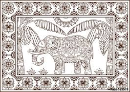 decorative outline elephant and palm trees in