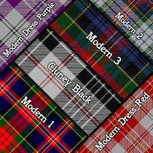 plaid tartan macpherson shield plaque with scottish clan coat of arms badge on