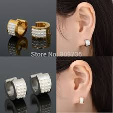 mens huggie earrings 1pair quality gold silver tone stainless steel attractive pearl