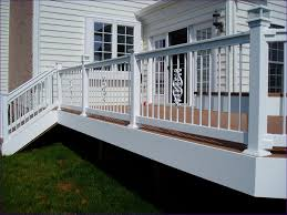 Exterior Stair Railing by Outdoor Ideas Black Pvc Railing Wood Deck Baluster Designs Deck
