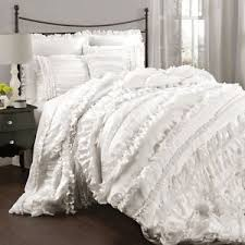 Ruffled Bed Set Chic Ruffles White Comforter Set Country Cottage