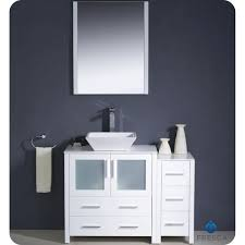 Vessel Sink Bathroom Vanity by Fresca Torino 42 Inch White Vessel Sink Bathroom Vanity With Side