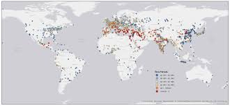 World Map 1800 by Yale Researchers Map 6 000 Years Of Urban Settlements