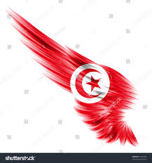 Maroon And White Flag Flag Tunisia On Abstract Wing White Stock Illustration 74745496