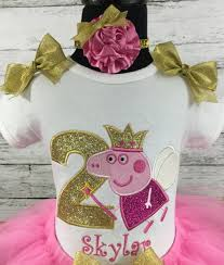 peppa pig ribbon peppa pig birthday personalized hot pink and gold ribbon tutu 3
