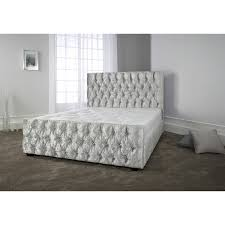 Diamante Bedroom Set Crushed Velvet High Headboard Bed Set Beds Collection Only