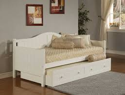 vintage white beadboard trundle daybed decor with cream satin