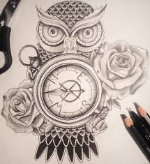 best owl holding a compass tattoo meaning simple tattos