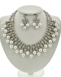 pearl rhinestone necklace images Birthday gifts platinum pearl rhinestone necklace earring jpg