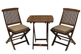 Square Bistro Table Amazon Com Outdoor Interiors Eucalyptus 3 Piece Square Bistro
