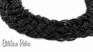 black seed bead necklace images Vintage black seed bead necklace with 20 braided strands and retro png