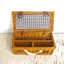 Picnic Basket Set For 4 Beautifu 50 U0027s Vintage Optima English Wicker Picnic Basket Set For