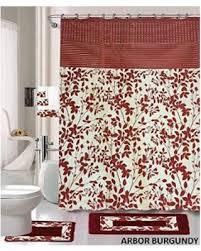 Bathroom Shower Curtain And Rug Set Savings On 18 Bath Rug Set Burgundy Leave