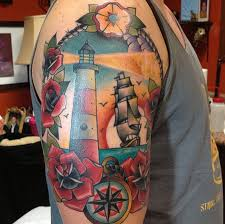 depiction gallery tattoos nautical lighthouse ship