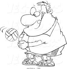 vector of a cartoon chubby male volleyball player hitting a ball