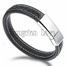 men black leather bracelet images Black genuine leather bracelet men bangle with stainless steel men jpg
