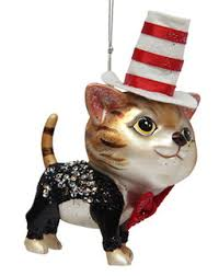 december diamonds glass ornament tabby cat in suit top hat