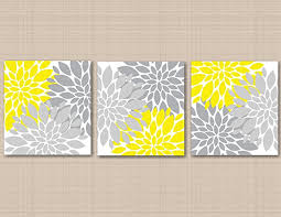 amazon com yellow gray floral wall art yellow gray bedroom décor