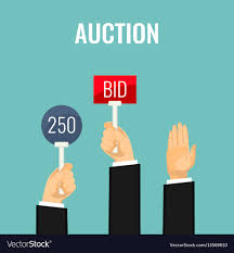 bid auction auction with holding paddles number and bid vector image