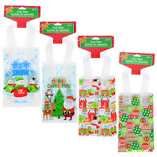 bulk christmas bags bulk frosted christmas loot bags with handles 6 ct packs at
