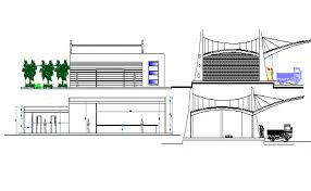side elevation mall side elevation and side sectional details dwg file