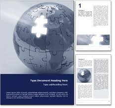 royalty free world puzzle microsoft word template in blue