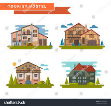 set country houses countryside hostel chalet stock vector