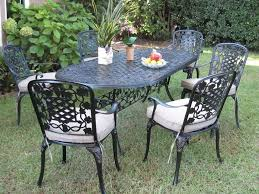 outdoor cast aluminum 7 piece dining set with cushions patio table