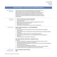 Example Resume For Maintenance Technician Maintenance Sample Resume Industrial Maintenance Mechanic