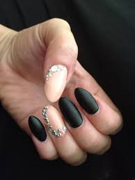 somethings about nail art rhinestone matte black and pink rhinestone stiletto gel nail art i would