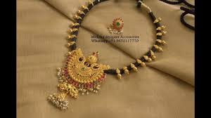 black necklace with gold images Latest black thread gold short necklace designs jpg