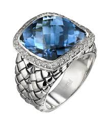 london blue topaz engagement ring sterling silver blue topaz diamond basketweave size 6