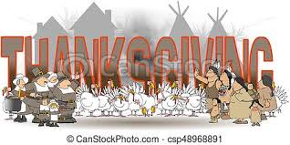 stock illustration of the word thanksgiving with americans