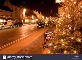 christmas lights and decorations in burford high street stock