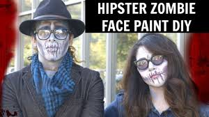 how to hipster zombie face paint halloween make up youtube