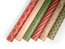 christmas wrapping paper sets kraft wrapping paper set 6 rolls patterns