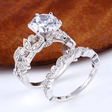 design silver rings images Leaf design round cut sterling silver ring set jeulia jewelry jpg