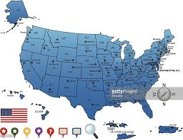 us map states and capitals usa map outline with state capitals and its territories vector