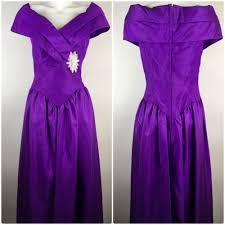 80s Prom Dress Size 12 Vtg 80s Taffeta Prom Dress Purple Party Off Shoulder Nwt High Low