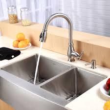 stainless steel kitchen sink combination kraususa com kraus 33 inch farmhouse double bowl stainless steel kitchen sink with kitchen faucet soap dispenser