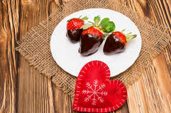 s day strawberries fresh strawberries dipped in chocolate and heart on wooden