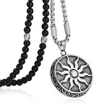 black agate necklace images Men stainless steel sun god apollo pendant necklace jpg