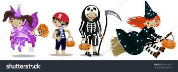 set cute cartoon characters kids dressed stock vector 219414817