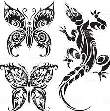tattoo drawings of butterflies and lizard stock vector art