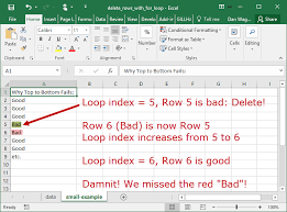 how to delete rows with a for loop dan wagner co