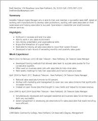 Sales Director Resume Examples by Professional Telecom Sales Manager Templates To Showcase Your