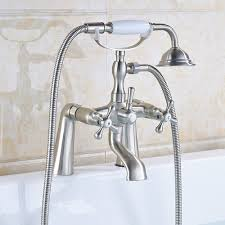 dual handle side mounted bathtub sink faucet telephone style hand