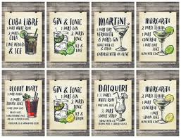 printable shot recipes cocktails art printsset of six printable cocktail